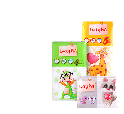Lucky Pin Детские подгузники (размер 2 -27 шт., размер 3 — 56 шт., размер 4 — 50 шт., размер 5 — 44 шт.)